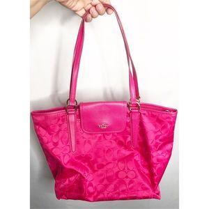 hot pink coach monogram purse